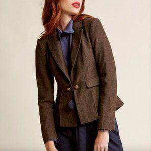 Modcloth Herringbone Peplum Brown Blazer Jacket L